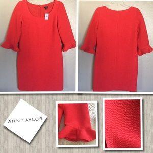 ANN TAYLOR RED SHIFT DRESS 2P
